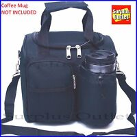 Black Insulated Lunch Bag Cooler Adjustable Straps Removable Liner