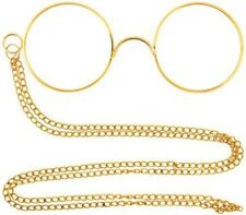 Gold Pinnacle Victorian Hercule Poirot Glasses with Chain Fancy Dress NEW