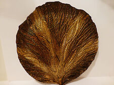 Exquisite Art Glass Display Plate Gold Tones Hand Painted Brilliant Leaf  (S4