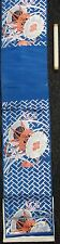 Asian Silk Tapestry Panel Japanese Chinese Blue w/Drums & Flowers Fabric Roll
