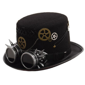 Retro Gothic Steampunk Gear Silver Goggle Black Top Hat Party Costume Hat Unisex