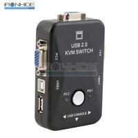 2 Port USB 2.0 VGA/SVGA KVM Switch Box For Sharing Monitor Keyboard Mouse