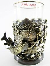 Traditional Tea Glass Holder podstakannik Fishing Pike + Glass #25