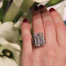20 Carat Emerald Cut Colorless D Flawless Clarity CZ Wedding Engagement Ring