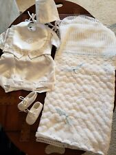 Baby Boy CHRISTENING Outfit sz 0- 6 mos. Complete! Shoes, Hat, Bib, Blanket,...