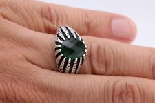 Turkish Handmade Jewelry Oval Emerald 925 Sterling Silver Men's Ring Size 12