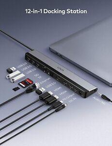VAVA USB C Docking Station 12-in-1 Type C Hub with Dual 4K HDMI Ports