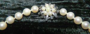 Perlenkette Kette 585 Weißgold Schließe feine Perlen 80 cm lang No 1