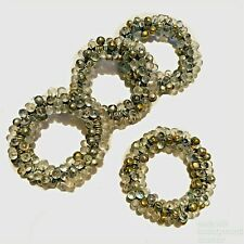 Napkin Rings Set of 4 BEADED GOLD BRONZE Silver Clear Dinner Party ELEGANT Cook