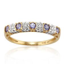 Tanzanite 9 Carat Eternity Yellow Gold Fine Rings