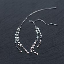 925 Sterling Silver Hearts Tassel Threader Line Thread Women Earrings A1879