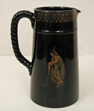 c1860 LARGE VICTORIAN JACKFIELD BLACK PITCHER GREEK SCENE 6 CUP DUDSON JETWARE