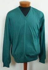 $925 Authentic BRIONI Green WOOL SILK CASHMERE V-NECK Pullover Sweater IT-54 L
