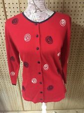 Eccobay Red Women's Embroidered 3/4 Sleeve Button Front Cardigan Sweater S
