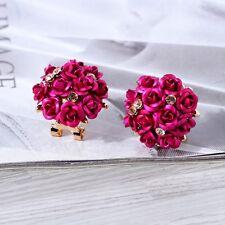 Mujer Pendientes De Botón Flor De Rose Cristal Aretes Ear Stud Earring