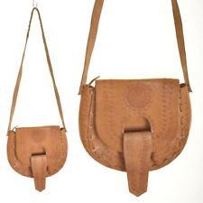 VINTAGE 1970's Mexican Tan Tooled Leather Saddle Shoulder Bag Satchel Handbag