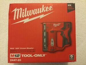 """New Milwaukee 2447-20 M12 12V 12 Volt Cordless 3/8"""" Crown Stapler NIB Bare Tool"""