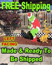 GRINCH Stealing CHRISTMAS Lights Yard Art LEFT Facing Grinch & MAX FREE SHIPPING
