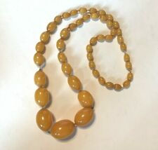 """Antique Amber Necklace, 24"""""""