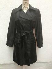 M&S Ladies Trench Coat 14 Black 42 Lightweight Belt Faux Slit Button Marks VGC