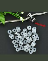 New! 40Pcs White Silicone Rubber Stoppers Spacers Beads Rings European Bracelets