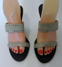 Kathy Van Zeeland Embellished Strap Heel Sandal w/Wooden Wedge Heel Women's 8 M