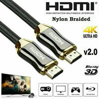 PREMIUM 4K HDMI CABLE 2.0 HIGH SPEED GOLD PLATED BRAIDED LEAD 2160P 3D HDTV UHD