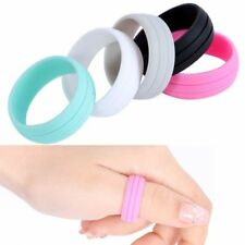 Rubber Silicone Active Ring Outdoor Party Wedding Band 2 LIne Grooves