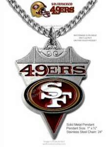 SAN FRANCISCO 49ERS NECKLACE NFL FOOTBALL STAINLESS STEEL CHAIN - FREE SHIP #CA'