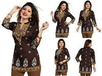 Top Women Indian Short Kurti Tunic Kurta Printed  Dress 3/4 Sleeves MI570 BROWN