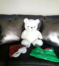"New Plush White Christmas Bear, Cap&Jacket, H17"", Sitting"