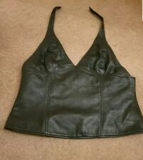 Black soft real leather Halter Neck Top Size 16-18