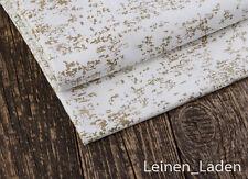 0,5m,  Vintage,100% Baumwolle Satin Stoff weiß mit Goldfarbe bescichtet.