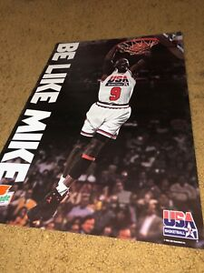 "(3) MICHAEL JORDAN 25""X17"" GATORADE OLYMPIC TEAM USA BASKETBALL POSTER LOT-NEW"
