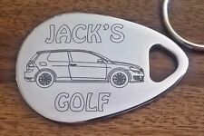Personalised VOLKSWAGEN GOLF keyring new shape mk7  3 dr  ANY NAME engraved