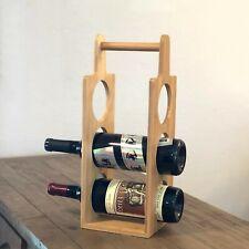 Bamboo Wood Countertop 3 Bottle Wine Rack Display Stand Storage Shelf 4574