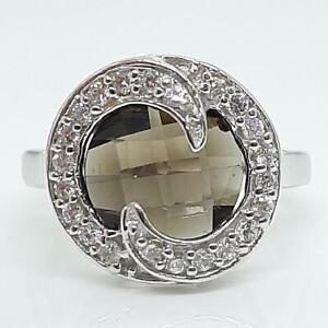 World Class 5.00ctw Cognac Topaz & Diamond Cut White Sapphire 925 Silver Ring