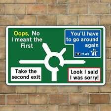 JOKE ROUNDABOUT SIGN, Funny Metal Road Sign, Joke Road Sign, Man Cave Gift