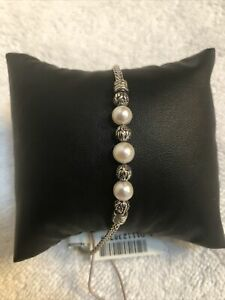 John Hardy Classic Chain Freshwater Cultured Pearl Pull Through Bracelet