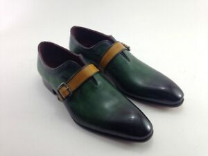 Forest Green Single Monk Patina Whole Cut Burnished Toe Leather Dress Men Shoes