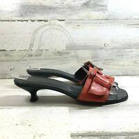 Donald J. Pliner Sandal Kitten Heel Mule Buckle Accent Red Women's Size 7.5 M