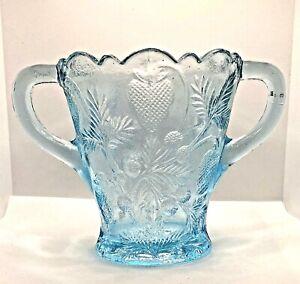 Vtg Mosser Double Handled Ice Blue Inverted Strawberry Glass Celery/Spooner Vase