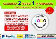 140 Etichette adesive personalizzate bollini tondi 4 cm stampa a colori