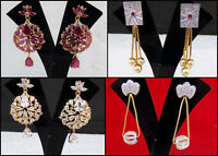 Ethnic Simulated Cubic Zirconia Jhumki Stunning Golden Ruby Earrings Set 903 MH