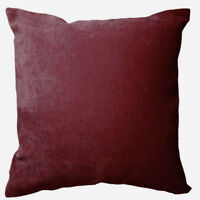 Ma25t Maroon Plain Color Velvet Style 3D Box Sofa Seat Cushion Cover*Custom Size