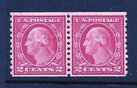1914 US #455 ~2c Washington Coil Pair [Perf 10 Vert]  MNH OG ......[MC6]
