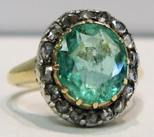 Victorian Look 925 Silver Cocktail Ring 0.70cts Rose Cut Diamond Emerald 00004000  Antique