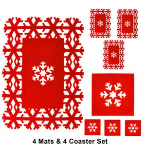 8pc Christmas Placemat Set Snowflake Table Decor Red Felt Coaster Xmas