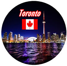TORONTO, CANADA - ROUND SOUVENIR FRIDGE MAGNET - SIGHTS / FLAGS / NEW / GIFTS