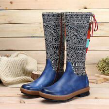 SOCOFY Women Leather Knee High Boots Ladies Bohemian Splicing Pattern Fla